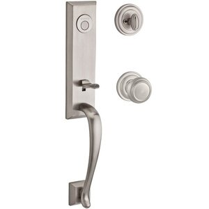 Baldwin Hardware Handleset with Traditional Knob and Traditional Round Rose in Satin Nickel