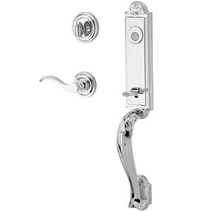 Baldwin Hardware Handleset with Right Handed Curve Lever and Traditional Round Rose in Polished Chrome