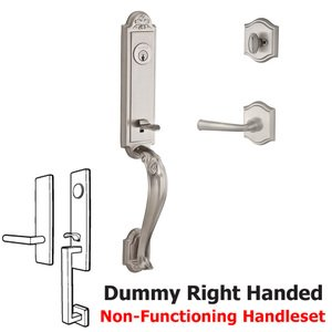Baldwin Hardware Handleset with Right Handed Federal Lever and Traditional Arch Rose in Satin Nickel