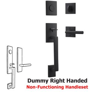 Baldwin Hardware Right Handed Full Dummy La Jolla Handleset with Tube Door Lever with Contemporary Square Rose in Satin Black