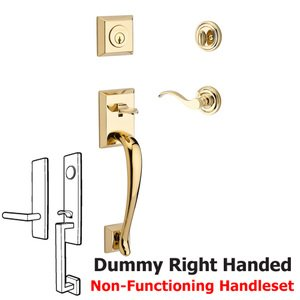 Baldwin Hardware Handleset with Right Handed Curve Lever and Traditional Round Rose in Polished Brass