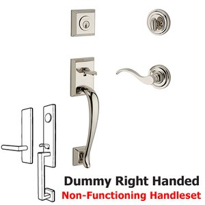 Baldwin Hardware Right Handed Full Dummy Napa Handleset with Curve Door Lever with Traditional Round Rose in Polished Nickel