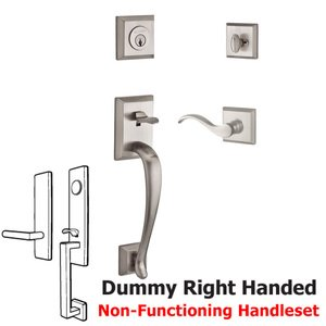 Baldwin Hardware Handleset with Right Handed Curve Lever and Traditional Square Rose in Satin Nickel