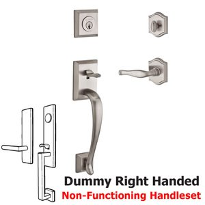 Baldwin Hardware Handleset with Right Handed Decorative Lever and Traditional Arch Rose in Satin Nickel