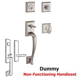 Baldwin Hardware Handleset with Ellipse Knob and Traditional Square Rose in Satin Nickel