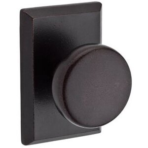 Baldwin Hardware Full Dummy Door Knob with Square Rose in Dark Bronze