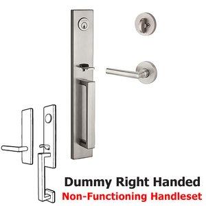 Baldwin Hardware Right Handed Full Dummy Santa Cruz Handleset with Tube Door Lever with Contemporary Round Rose in Satin Nickel