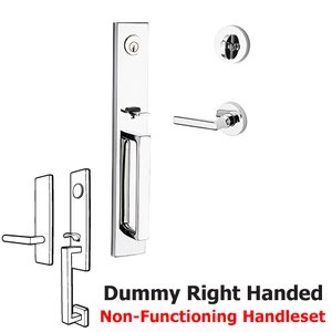 Baldwin Hardware Right Handed Full Dummy Santa Cruz Handleset with Tube Door Lever with Contemporary Round Rose in Polished Chrome