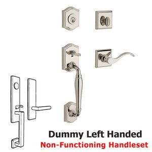 Baldwin Hardware Left Handed Full Dummy Westcliff Handleset with Curve Door Lever with Traditional Square Rose in Polished Nickel