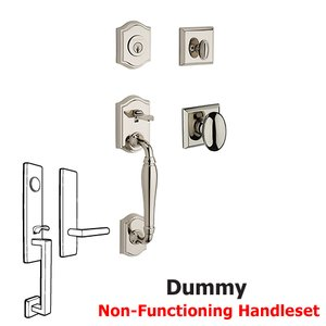 Baldwin Hardware Full Dummy Westcliff Handleset with Ellipse Door Knob with Traditional Square Rose in Polished Nickel