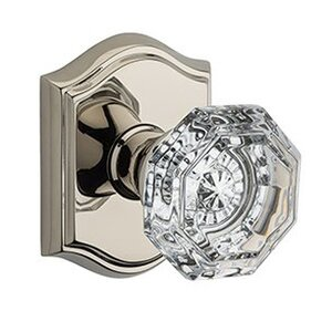 Baldwin Hardware Single Dummy Crystal Door Knob with Traditional Arch Rose in Polished Nickel