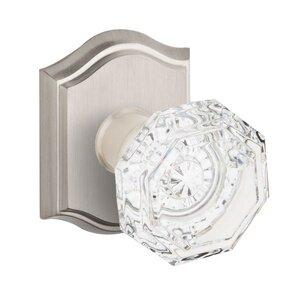 Baldwin Hardware Single Dummy Crystal Door Knob with Traditional Arch Rose in Satin Nickel