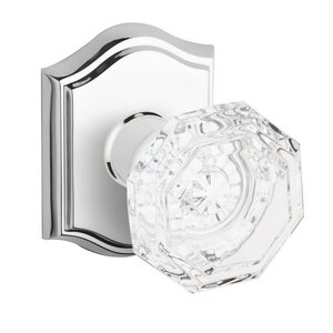 Baldwin Hardware Single Dummy Crystal Door Knob with Traditional Arch Rose in Polished Chrome