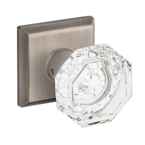 Baldwin Hardware Passage Crystal Door Knob with Traditional Square Rose in Matte Antique Nickel