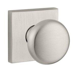 Baldwin Hardware Privacy Door Knob with Contemporary Square Rose in Satin Nickel