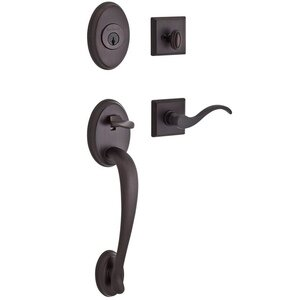 Baldwin Hardware Handleset with Left Handed Curve Lever and Traditional Square Rose in Venetian Bronze