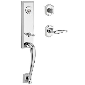 Baldwin Hardware Handleset with Left Handed Decorative Lever and Traditional Arch Rose in Polished Chrome