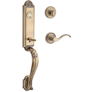 Baldwin Hardware Handleset with Left Handed Curve Lever and Traditional Round Rose in Matte Brass & Black