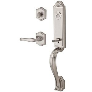 Baldwin Hardware Right Handed Single Cylinder Handleset with Decorative Lever in Satin Nickel