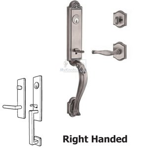 Baldwin Hardware Right Handed Single Cylinder Handleset with Decorative Lever in Matte Antique Nickel