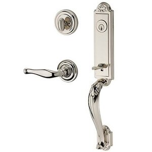 Baldwin Hardware Right Handed Single Cylinder Elizabeth Handlest with Decorative Door Lever with Traditional Round Rose in Polished Nickel