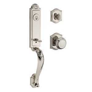 Baldwin Hardware Single Cylinder Elizabeth Handlest with Traditional Door Knob with Traditional Arch Rose in Polished Nickel