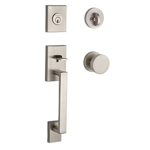 Baldwin Hardware Single Cylinder La Jolla Handleset with Contemporary Door Knob with Contemporary Round Rose in Satin Nickel
