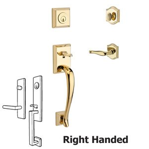 Baldwin Hardware Handleset with Right Handed Decorative Lever and Traditional Arch Rose in Polished Brass