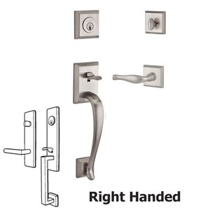 Baldwin Hardware Handleset with Right Handed Decorative Lever and Traditional Square Rose in Satin Nickel