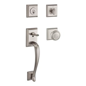 Baldwin Hardware Handleset with Traditional Knob and Traditional Square Rose in Satin Nickel