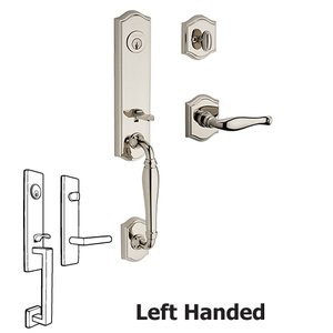 Baldwin Reserve - Left Handed Single Cylinder New Hampshire Handleset with Decorative Door Lever with Traditional Arch Rose in Polished Nickel