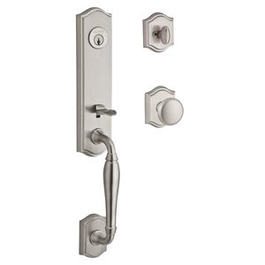 Baldwin Reserve - New Hampshire Handleset with Round Knob and Traditional Arch Rose in Satin Nickel