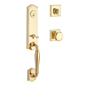 Baldwin Hardware Handleset with Round Knob and Traditional Square Rose in Polished Brass