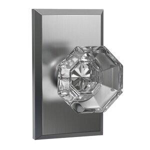 Bravura Hardware Dummy Large Rectangular Rosette with Crystal Octagon Knob in Satin Nickel