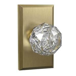 Bravura Hardware Dummy Large Rectangular Rosette with Crystal Ball Knob in Satin Brass