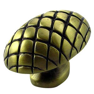 Big Sky Hardware Large Quilted Egg Knob in Antique Brass
