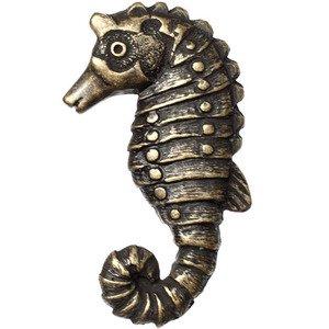 Big Sky Hardware Sea Horse Knob in Antique Brass