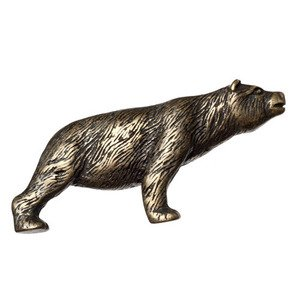 Big Sky Hardware Stretching Bear Knob in Antique Brass