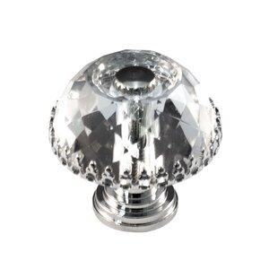 Cal Crystal Round Knob w/ Frame in Polished Brass