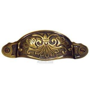 "Cal Crystal 3 3/4"" Ornate Bin Pull in Polished Brass"