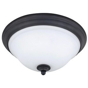 """Canarm - Twenty One - 13 3/4"""" Flush Mount Light in Oil Rubbed Bronze with White Flat Opal Glass"""