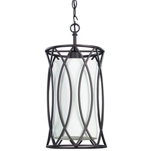 "Canarm - Monica - 8 3/8"" Mini Pendant in Oil Rubbed Bronze with Off-White Fabric Shade"
