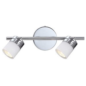 Canarm Double Track Bath Light in Chrome with White Flat Opal Glass