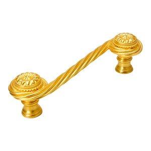 "Carpe Diem Hardware Acanthus Scroll 4"" Centers Pull Rosette Style in Antique Brass"