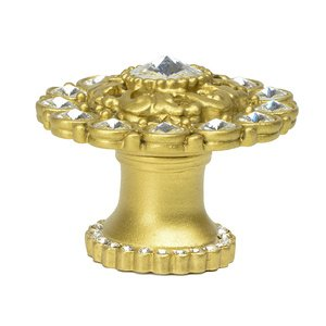 Carpe Diem Hardware Large Round Multi Crystals Knob With Halo Platform With Swarovski Crystals In Cobblestone