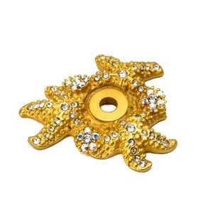 Carpe Diem Hardware Starfish & Sea Anemones Escutcheon With Swarovski Crystals in Cobblestone with Jet