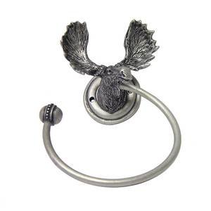 Carpe Diem Hardware Moose Swing Towel Ring in Cobblestone