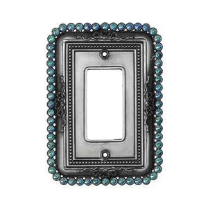 Carpe Diem Hardware Single Rocker/Gfi Switchplate With 60 Clear Swarovski Crystals in Antique Brass