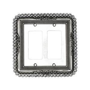 Carpe Diem Hardware Double Rocker/Gfi Switchplate With 74 Clear Swarovski Crystals in Antique Brass