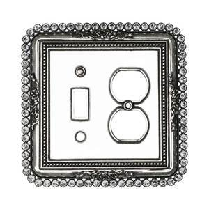 Carpe Diem Hardware Single Toggle And Single Duplex Outlet Switchplate With 74 Clear Swarovski Crystals in Antique Brass